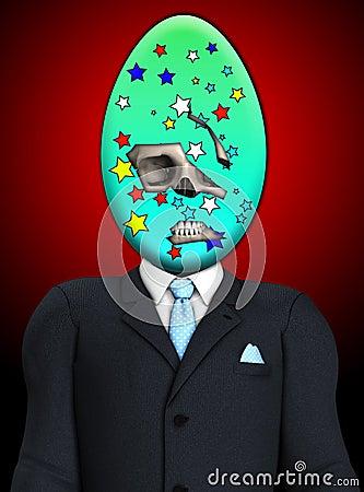 Ponury Wielkanocnego jajka czaszki mężczyzna