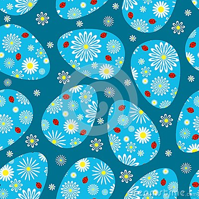 Wielkanocny zmrok - błękitny bezszwowy wzór.