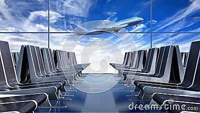 Wielki pasażerski samolot zdejmuje przeciw cloudscape widzieć od wyjściowej sali zbiory wideo