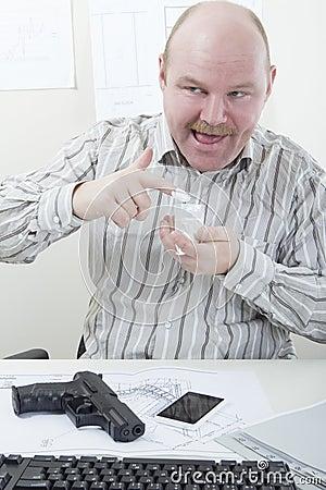 Wierd Businessman with Cocaine and Gun