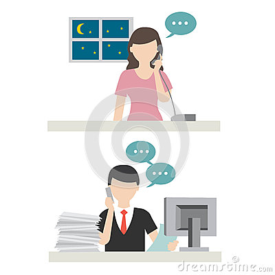 Wife calling husband in office vector Vector Illustration