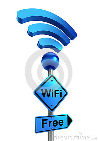 Wifi blue road sign