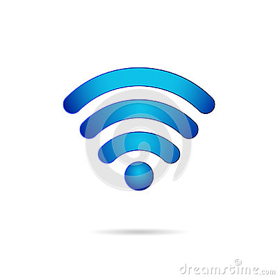 Wifi 3d symbol wireless connection icon Vector Illustration