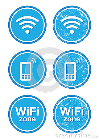 Wifi internet zone blue vintage labels set