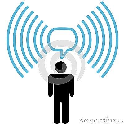 Free Wifi Symbol Man Talks On Wireless Network Stock Images - 11184624