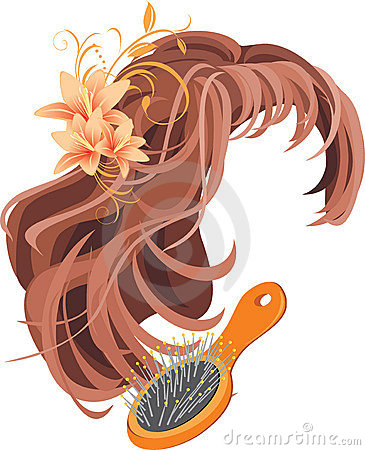 Wig and hairbrush