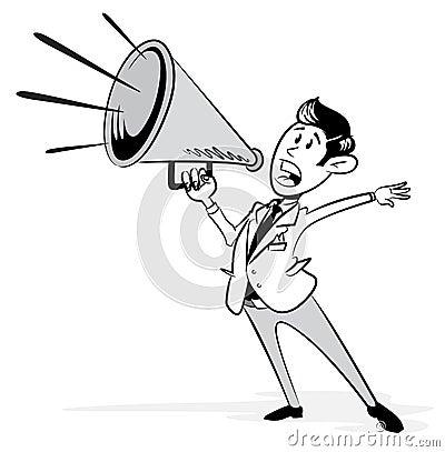 Wijnoogst gestileerde zakenman met zijn megafoon stock afbeeldingen afbeelding 33584834 - Wijnoogst ...