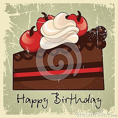 Wijnoogst van de cake de gelukkige verjaardag vector illustratie afbeelding 47420622 - Wijnoogst ...