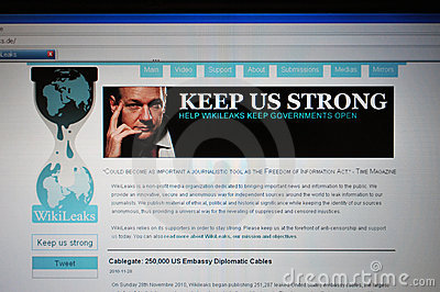 Wikileaks.de main internet page Editorial Stock Photo
