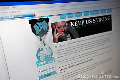 Wikileaks.de main internet page Editorial Photography