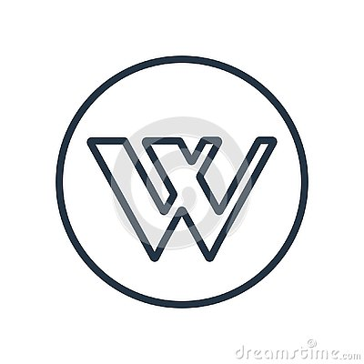 Wikipedia icon vector isolated on white background, Wikipedia sign Vector Illustration