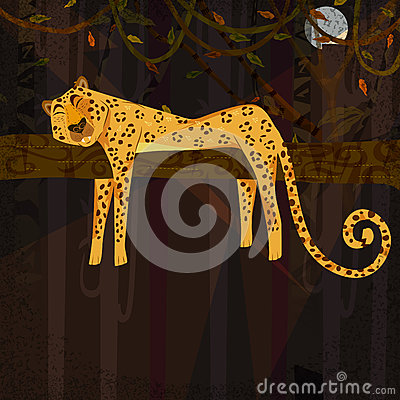 Wild animal Cheetah in jungle forest background Vector Illustration