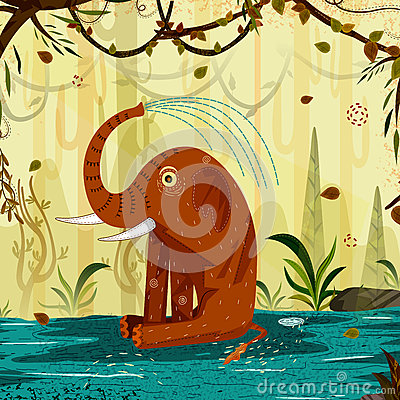 Wild animal Elephant in jungle forest background Vector Illustration