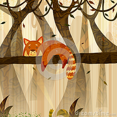 Free Wild Animal Red Panda In Jungle Forest Background Royalty Free Stock Images - 93019539