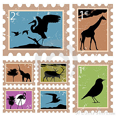 Free Wild Animal Stamps Royalty Free Stock Images - 6779319