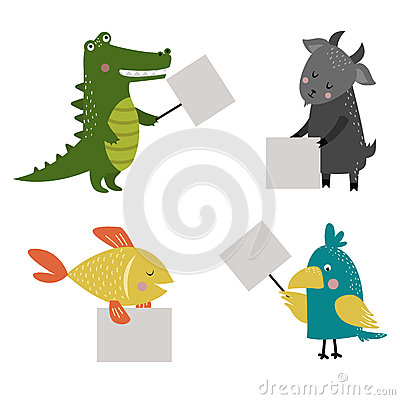 Wild animal zoo strike with clean plate board vector. Vector Illustration