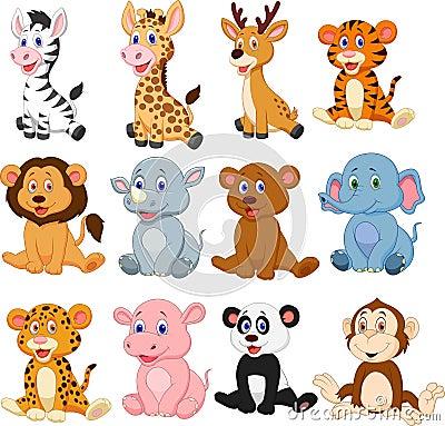 Free Wild Animals Cartoon Collection Set Stock Photography - 123696432