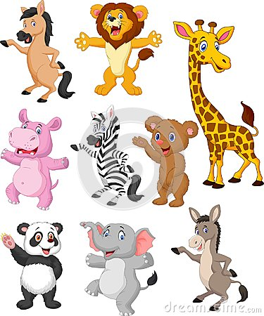 Free Wild Animals Cartoon Collection Set Stock Image - 123696641
