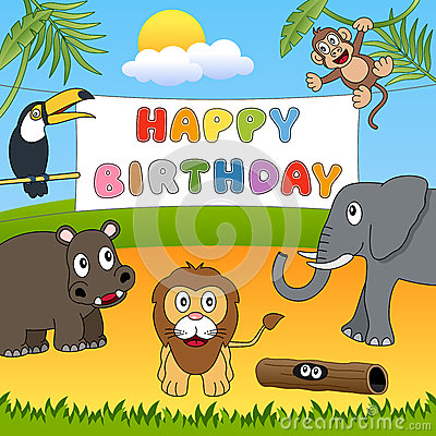 Wild Animals Happy Birthday