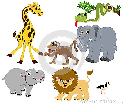 Wild Animals illustrations Isolated for many usage