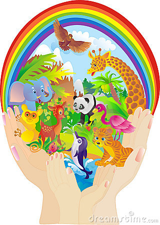 Wild animals. Protection of nature. Vector