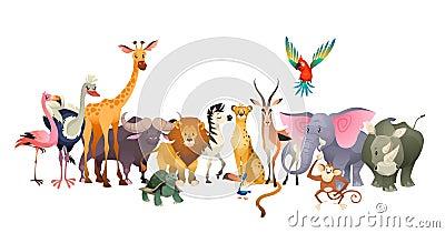 Wild animals. Safari wildlife africa happy animal lion zebra elephant rhino parrot giraffe ostrich flamingo cute jungle Vector Illustration