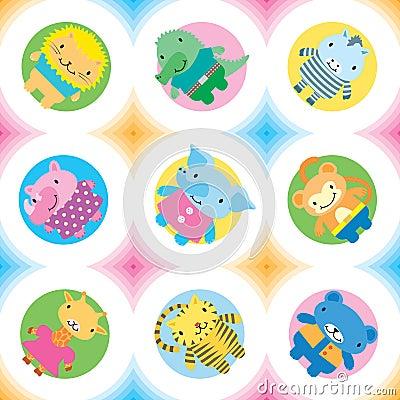 Wild animals seamless pattern