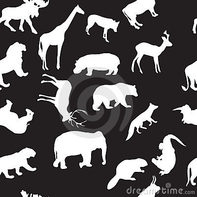 Wild animals seamless pattern