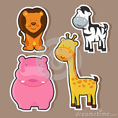 Free Wild Animals Sticker Or Label Design. Royalty Free Stock Photo - 48486775