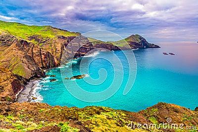 Wild beach at Ponta de Sao Lourenco, Madeira, Portugal Stock Photo