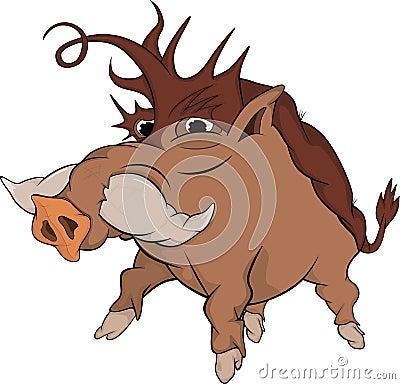 Wild boar. Cartoon