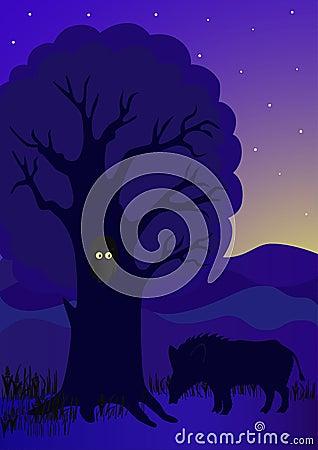 Wild boar under a tree
