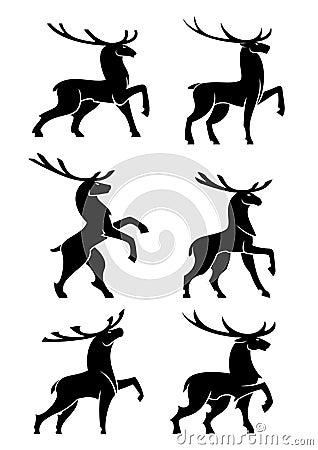 Free Wild Bull Elks Or Deers Black Silhouettes Royalty Free Stock Image - 69755906