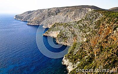 Wild cliffs of the western Zakynthos. Greece