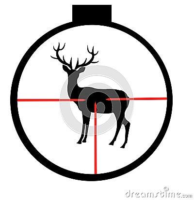Wild deer in optical sight