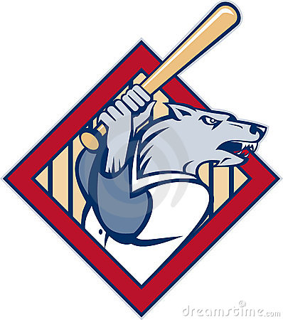 Wild dog wolf player baseball bat