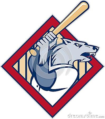 Wild dog wolf player baseball bat