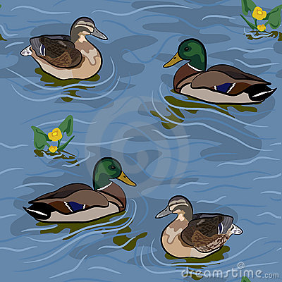 Wild ducks seamless texture