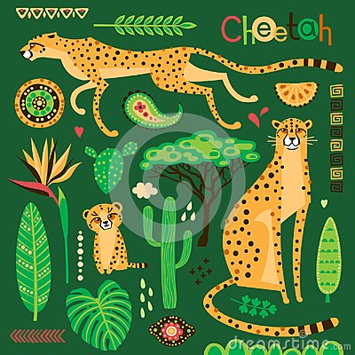 Free Wild Exotic Cats, Tropical Plants And Ethnic Patterns Set. Cheetahs And Their Cub. Vector Illustration Of Cartoon Style Royalty Free Stock Photography - 123281967