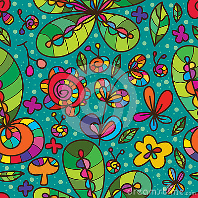 Free Wild Flower Green Color Drawing Seamless Pattern Royalty Free Stock Photography - 68433097