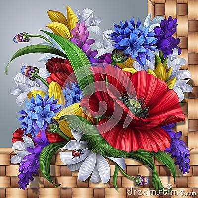 Free Wild Flowers Background; Poppy, Cornflower, Daisy, Lavender Royalty Free Stock Photos - 44440038