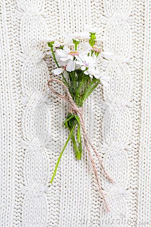 Wild flowers on a beige knitted texture