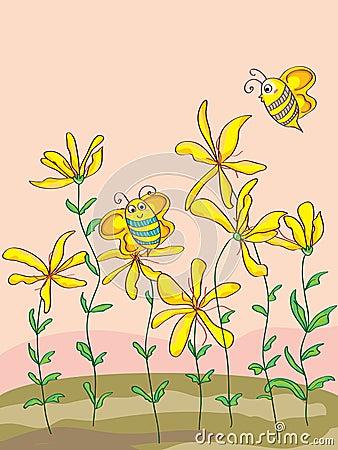 Wild Flowers Cute Bee_eps