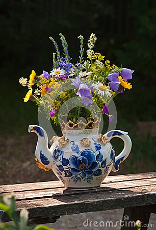 Wild flowers in a teapot