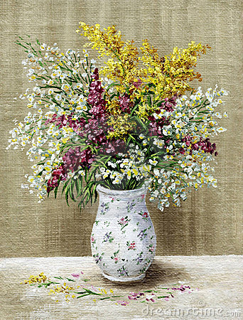 Wild flowers in a white vase