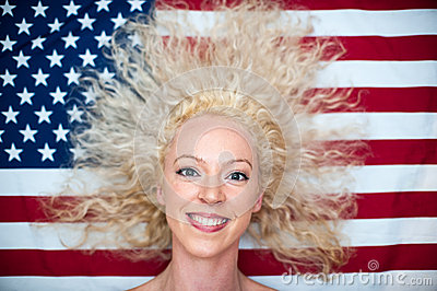 Wild hair woman on American flag
