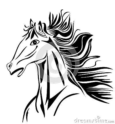 Wild head Horse vector