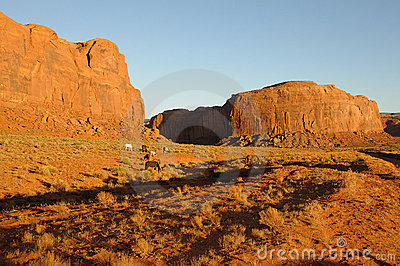 Wild Horses in Monument Valley at Sunset