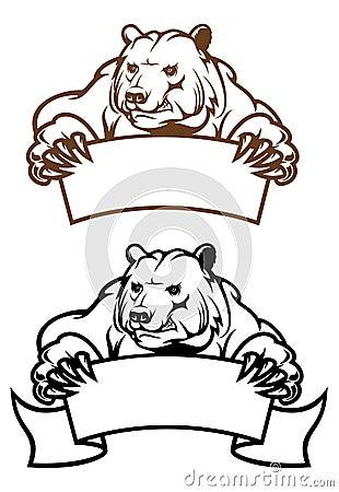 Wild kodiak bear with banner