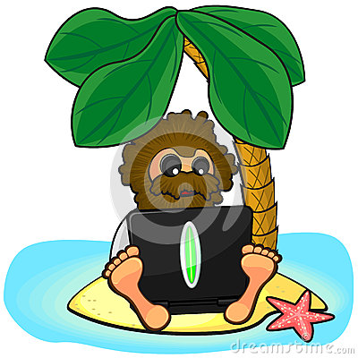 Wild man with laptop on island